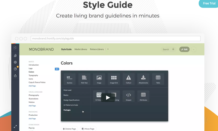 monobrand style guide screenshot